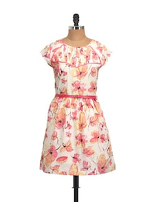 White And Pink Floral Dress - QUEST