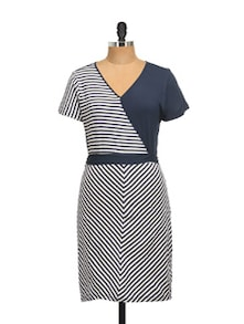 Navy Blue And White Dress - QUEST