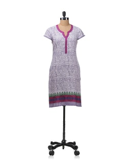 Printed Kurta With Appliqued Border On The Neckline - Aurelia
