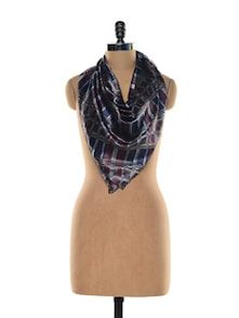 Blue And Maroon Check Scarf - Purplicious