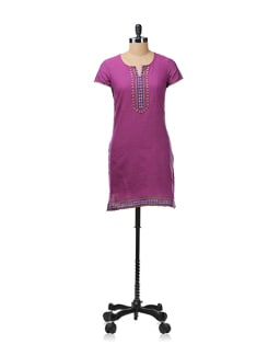 Purple Cotton Kurta With Woven Applique On Bodice - Aurelia
