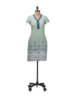 Green And Blue Printed Kurta - Aurelia