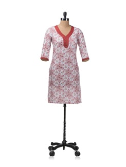 Red And White Printed Kurta - Aurelia