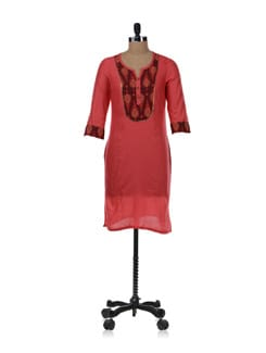 Red Kurta With Printed Yoke - Aurelia