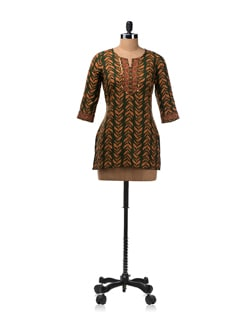 Green And Orange Leaf Print Kurti - Aurelia