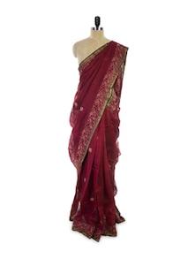 Maroon Chikan Cotton Silk Saree - Spatika Sarees