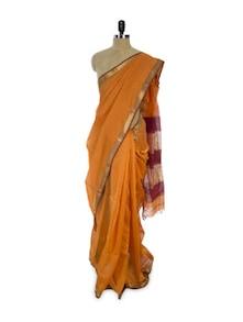 Splendid Cotton Silk Saree In Orange - Spatika Sarees