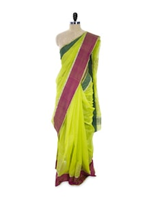 Refreshing Lime Green Cotton Silk Saree - Spatika Sarees