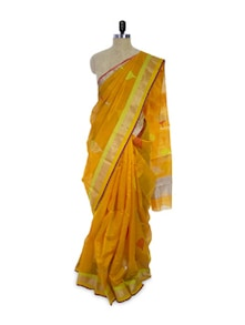Bright Orange Cotton Silk Saree - Spatika Sarees