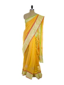 Mango-coloured Cotton Silk Saree - Spatika Sarees