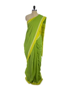 Hand-woven Cotton Green Saree - Spatika Sarees