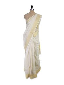 Gold Border White Saree - Spatika Sarees