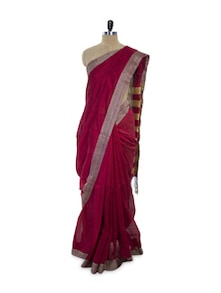 Bengal Cotton Silk Maroon Saree - Spatika Sarees