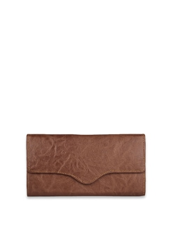 Classic Brown Wallet With Stitch Line Detailing - ALESSIA 8217