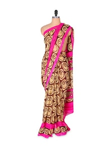 Brown Georgette Saree With Pink Border - Fabdeal