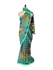 Contemporary Black And Green Pallu Saree - Fabdeal