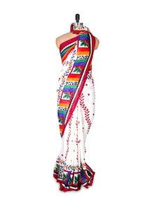 White Printed Georgette Saree - Fabdeal