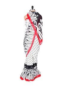 White And Black Georgette Saree With Red Border - Fabdeal