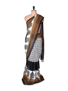 White And Black Georgette Saree With Brown Border - Fabdeal