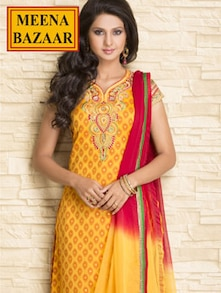 Embroidered Yellow And Red Unstitched Suit With Chiffon Dupatta - Meena Bazaar
