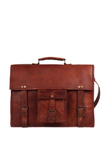 Brown Leather Satchel - Rustic Town
