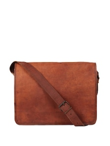 Brown Leather Messenger Bag - Rustic Town