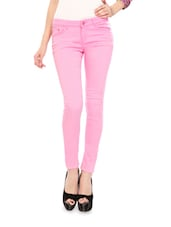 Baby Pink Cotton Lycra Stretchable Jeggings - Glam And Luxe