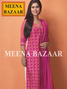 Regal Pink Printed Unstitched Suit - Meena bazaar