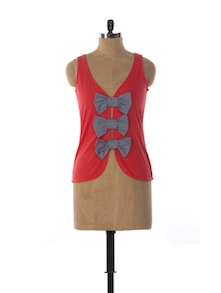 Bow Embellished Red Top - Miss Chase