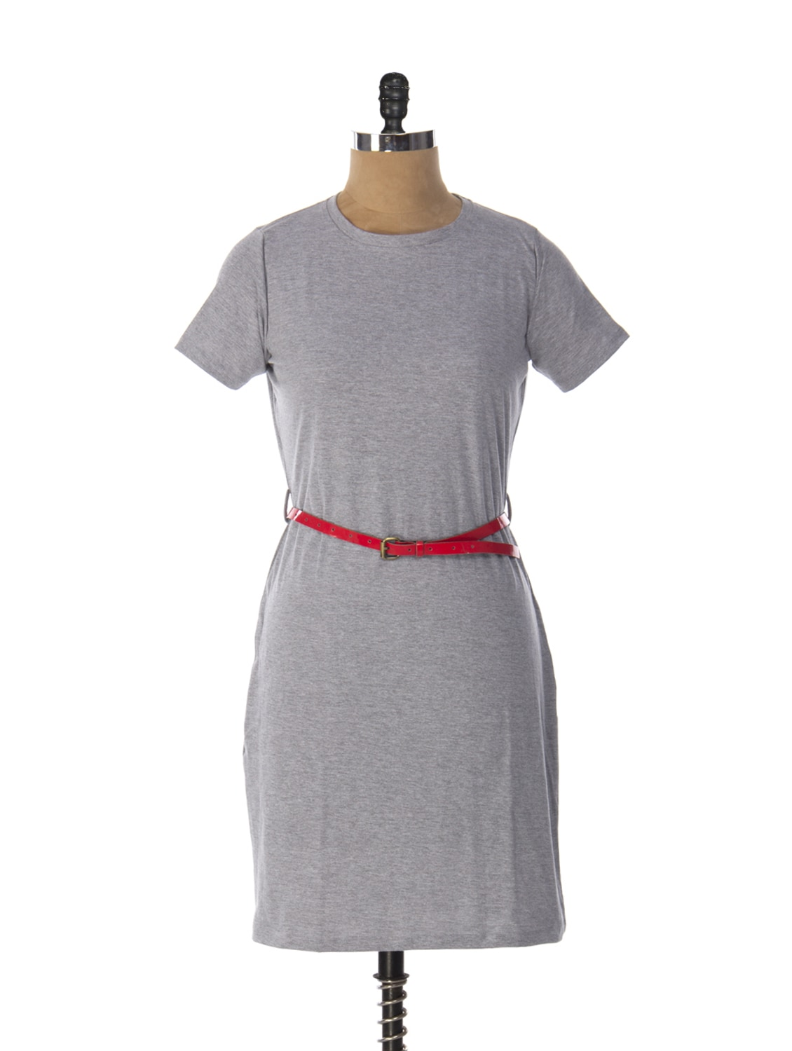 T-shirt Style Grey Midi Dress - Miss Chase
