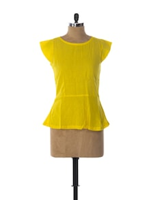 Radiant In Yellow Cotton Peplum Top - Miss Chase