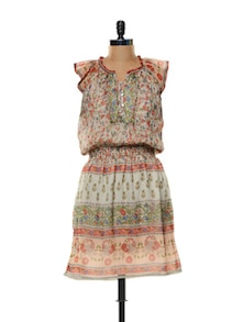 Cap Sleeved Printed Dress - Mishka