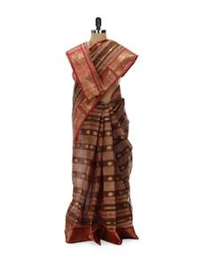 Brown Tant Cotton Bengal Handloom Saree - Aadrika Saree