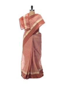 Bravo Brown Tant Cotton Bengal Handloom Saree - Aadrika Saree