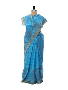 Beautiful Blue Tant Cotton Bengal Handloom Saree - Aadrika Saree