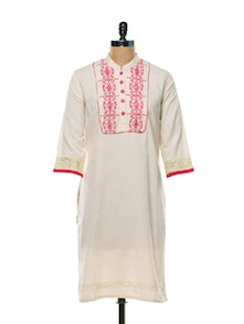 Smart Off-White And Pink Kurti - Awesome