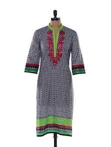 Neon Green And Black Printed Kurta - Awesome