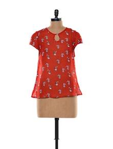 Feline Print Polyester Chiffon Top - Trend 18 83237