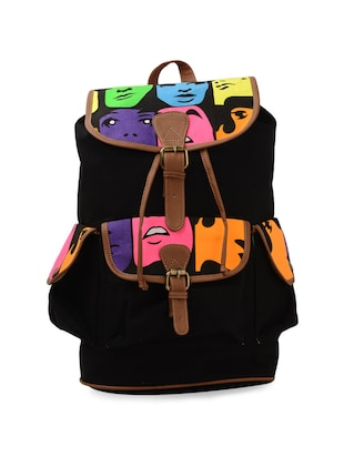 Black Face Print Canvas Backpack