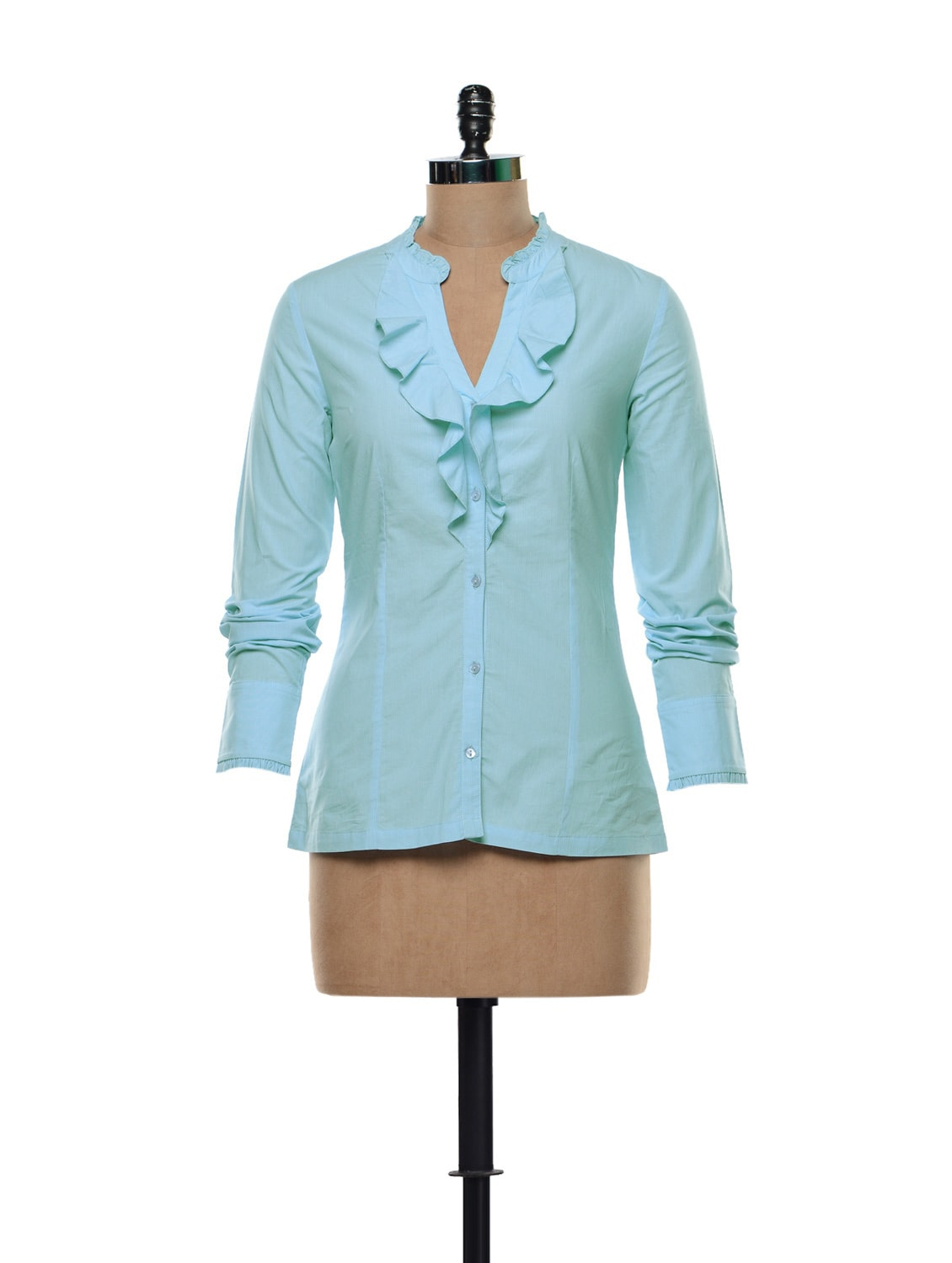 Ruffled Blouse In Light Blue - Kaaryah