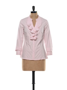 Ruffled Blouse In Baby Pink - Kaaryah