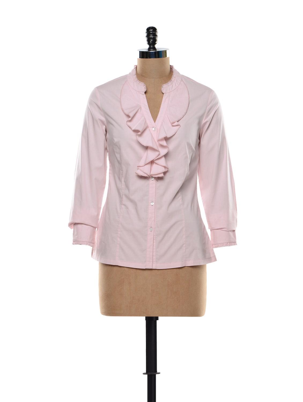 Ruffled Blouse In Baby Pink - Kaaryah