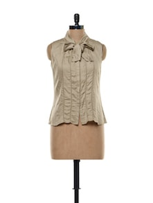 Knot-detail Scalloped Hem Beige Top - Kaaryah