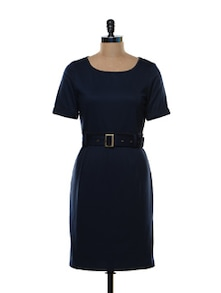 Structured Navy Blue Formal Dress - Kaaryah