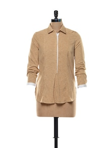 Formal Beige Shirt In Polyester Crepe - Kaaryah