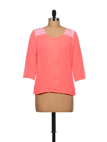 Sheer Neon Pink Top With Floral Shoulder Panels - Meira