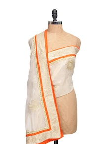 Ivory Tissue Silk Zari Dupatta With Orange Piping  And Zari Border - Dupatta Bazaar