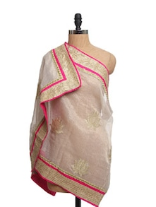 Ivory Tissue Silk Zari Dupatta With Hot Pink Piping  And Zari Border - Dupatta Bazaar
