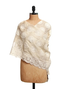 Beige Tissue Silk Dupatta With Crochet Lace With Cotton Lace - Dupatta Bazaar
