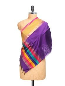 Purple Chanderi Silk Dupatta With Multicolour Border And Zari - Dupatta Bazaar